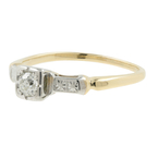 Vintage Classic Estate Ladies 14K Two-Tone Gold Diamond Engagement Ring - 0.15CTW