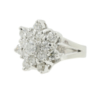 Estate Ladies 18K White Gold Diamond Rosita Cluster Promise Ring - 1.65CTW