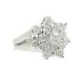 Estate Ladies 18K White Gold Diamond Rosita Cluster Promise Ring - 1.65CTW