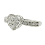 Classic Estate Ladies 10K White Gold Diamond Heart-Shaped Promise Ring - 0.72CTW