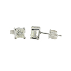 Vintage Classic Estate 14K White Gold Diamond Stud Push Back Earrings - 0.60CTW