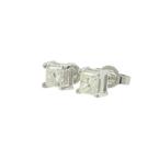 Vintage Classic Estate 14K White Gold Diamond Stud Push Back Earrings - 0.60CTW