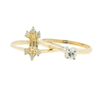 Estate Ladies 14K Yellow Gold Diamond Solitaire Enhancer Wedding Ring Set 0.32CTW