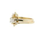 Estate Ladies 14K Yellow Gold Diamond Solitaire Enhancer Wedding Ring Set 0.32CTW
