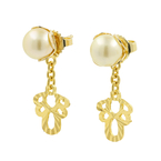 Vintage Classic Estate Ladies 18K Yellow Gold Pearl Drop Push Back Earrings