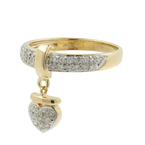 Charming Modern Ladies 14K Gold Heart Shaped Pave Set Diamond Ring - 0.36CTW