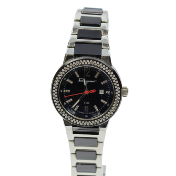 Authentic Salvatore Ferragamo F-80 Diamond Quartz Women's Watch F53SBQ9109-S989