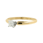 Estate 10K Yellow Gold Princess Cut Diamond Solitaire 0.19CTW Engagement Ring