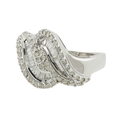 Gorgeous Classic Estate Ladies 18K White Gold Diamond Bypass Ring - 1.00CTW