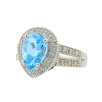 Classic Estate Ladies 10K White Gold Lite Blue Topaz Diamond Halo Cocktail Ring