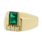 Men's Vintage Classic Estate 14K Yellow Gold Green Tourmaline & Diamond Ring