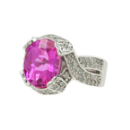 Classic Estate Ladies 14K White Gold Pink Sapphire Diamond Cocktail Ring 7.90CTW