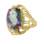 Vintage Estate Ladies 10K Yellow Gold Ornate Mystic Topaz Statement Ring Size 7
