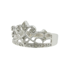 Classic Vintage Estate Ladies 10K White Gold Crown-Shaped Diamond Ring - 0.19CTW