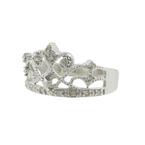 Classic Vintage Estate Ladies 10K White Gold Crown-Shaped Diamond Ring - 0.19CTW