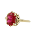 Charming Classic Estate Ladies 10K Yellow Gold Ruby Ornate Cocktail Ring 1.80CTW