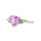 Estate Ladies 10K White Gold Heart-Shaped Pink & White Topaz Ring - 2.15CTW