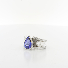 Alluring 5 Carat Midnight Blue Tanzanite Platinum Custom Diamond Eternity Ring