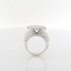 Stunning Mens Or Ladies Custom Made 4.02 Carat Total Diamond 14K White Gold Ring