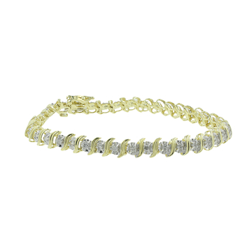 Ladies Classic Estate 10K Yellow Gold Diamond Tennis Bracelet - 7 inch - 0.78CTW