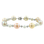 Ladies Classic Estate 14K White Gold Button Pearl Sapphire Statement Bracelet