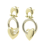 Ladies Modern 14K Yellow Gold Heart-Shaped Dangle Stud Earrings - New