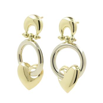 Ladies Classic Estate 14K Yellow Gold Heart-Shaped Drop Dangle Stud Earrings