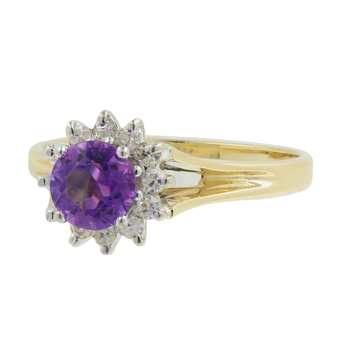 Ladies Classic Estate 14K Yellow Gold Purple Amethyst Gemstone & Diamond Halo Ring