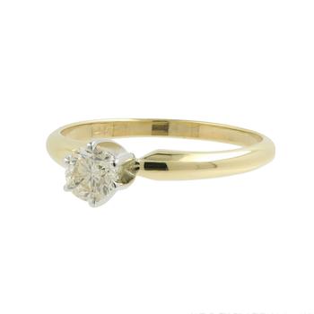 Ladies Vintage Estate 14K Yellow Gold Round Diamond Solitaire Engagement Ring