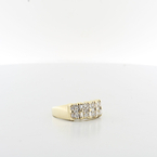 Heirloom Quality Ladies 14K Yellow Gold Round & Emerald Cut Diamond Jewelry Ring
