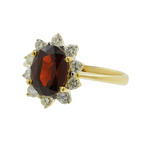 Gorgeous Classic Estate Ladies 18K Yellow Gold Garnet & Diamond Halo Ring