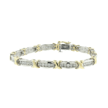 Ladies Stunning Estate 10K White Yellow Gold Diamond Tennis Bracelet - 3.00CTW