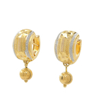 Beautiful Classic Estate Ladies 18K Yellow White Gold Huggie Hoop Earrings