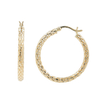Ladies Classic Estate 14K Yellow Gold Cut Out Hoop SaddleBack Earrings - 30MM
