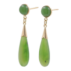 Ladies Classic Estate 14K Yellow Gold Green Jade Drop Push Back Earrings