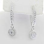 Ladies Stunning 14K White Gold Dangle 1.52CTW Diamond Jewelry Certified Earrings