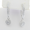 Ladies Stunning 14K White Gold Dangle 1.52CTW Diamond Jewelry Certified Earrings