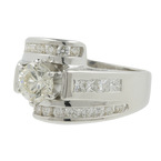 Women's Estate 18K White Gold Diamond Solitaire Side Accent Engagement Ring 2.10CT