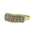 Classic Estate Ladies 10K Yellow Gold Charming C4 Champagne Diamond Pyramid Ring