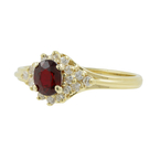 Estate Ladies 14K Yellow Gold Diamond Red Spinel Halo Right Hand Ring - 0.60CTW