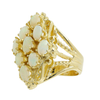 Ladies Vintage Classic Estate 14K Yellow Gold Opal Statement Ring - 1.08CTW