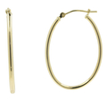 Classic Estate 14K Yellow Gold Smooth High Polished Hollow Oval Hoop Earrings