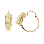 Estate Ladies 12K Yellow Gold Mine Cut Diamond Hoop Latch Back Earrings - 1.20CTW