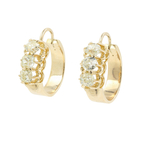 Ladies Vintage Estate 12K Yellow Gold Mine Cut Diamond Hoop Latch Back Earrings - 1.20CTW