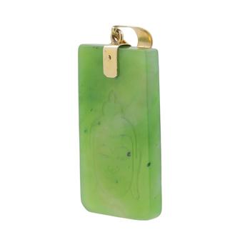 Rare Vintage Classic Estate 14K Yellow Gold Green Jade Buddha Pendant - 55MM
