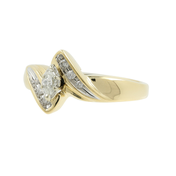 Ladies Classic Estate 14K Yellow Gold Round & Marquise-Cut Diamond Bypass Ring
