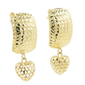 Ladies Vintage Classic Estate 14K Yellow Gold Heart-Shaped Diamond Cut Earrings