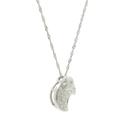 Ladies Estate 14K White Gold Crescent Moon Shaped Heart Charm Necklace Pendant