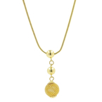 "Elegant Classic Estate Ladies 18K Yellow Gold Bead Pendant 18"" Chain Necklace"