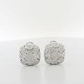 Graceful Diamond Estate Cut-Out Design 14K White Gold Omega Backings Earrings